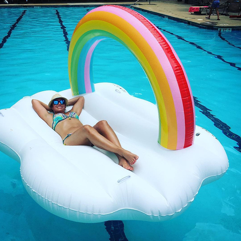 240cm-60inch-Giant-Inflatable-Rainbow-Cloud-Pool-Float-2018-Newest-Summer-Ride-On-Swimming-Ring-Adults