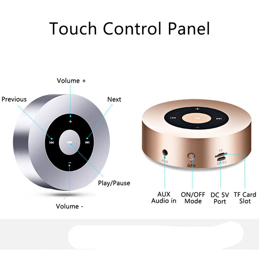 Aimitek Portable Bluetooth Speaker Touch Screen Mini Wireless Stereo Speaker silver-3