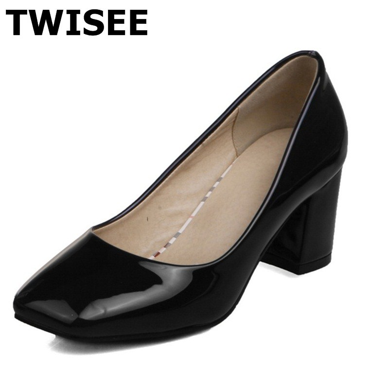 Beautiful ladies women high heels shoes Wedding summer pumps Square heel Patent Leather Square Toe fashion Comfortable<br><br>Aliexpress