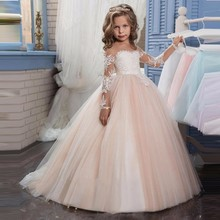 2017 Romantic Champagne Puffy Lace Flower Girl Dress for Weddings Organza Ball Gown Girl Party Communion Dress Pageant Gown(China)