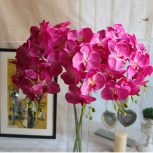 Multi Flower Heads Artificial Simulation Flower Butterfly Orchid Silk Flower Bouquet Phalaenopsis Wedding Party Home Decor