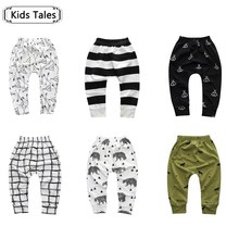 SK092 2017 Spring boy girl cartoon cotton trousers boy autumn tribe / Pineal / wolf children pants children clothing(China)