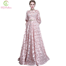 SSYFashion New Simple Evening Gown The Bride Long Sleeved Pink Elegant Banquet Long Party Formal Dresses Custom Robe De Soiree(China)
