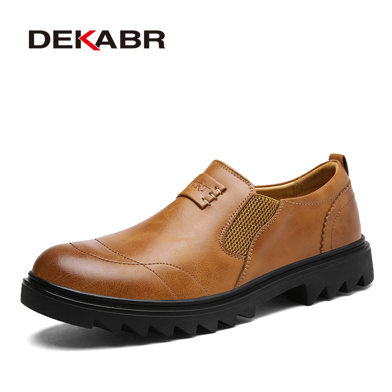 DEKABR Hot Sale Casual Shoes Men Spring Summer Waterproof Solid Slip-On Man Fashion Round Toe Flat With Slipt Leather Men Shoes<br>