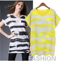 Fashion loose large striped V collar short-sleeved T-shirt Yellow Black women tops Simple classic shirt M-4XL