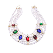 New Fashion Colorful Imitation Gemstone Necklace Party Simulated Pearls Jewelry Multilayer Beads Chain Chunky Necklace