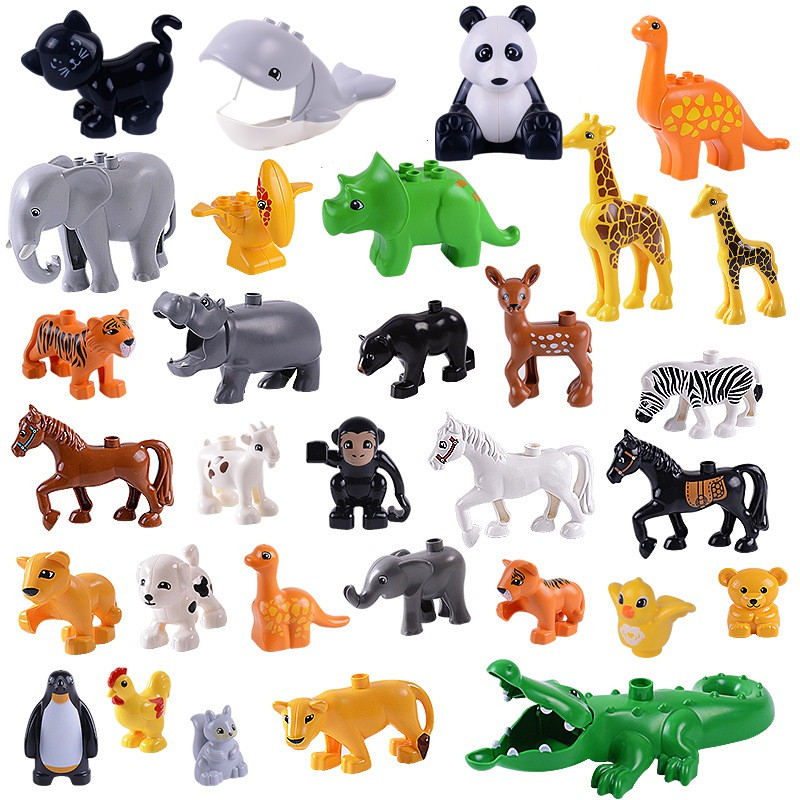 Single Sale Animal Figure locking Duplo Series Dinosaurs Crocodile Dolphins Model Action Figures lockings Building Blockss Toys