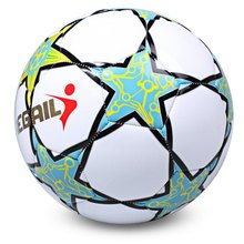 2017 Hot Sale Soccer Ball Regail Five-pointed Star PU White Synthetic Leather Football For Younger Teenager Game Training(China)