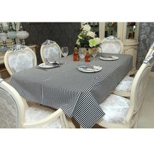 yazi Fashion Black & White Stripes Cotton Linen Tablecloth Wedding Banquet Party Table Cover Mother's Day Gift 140x180cm