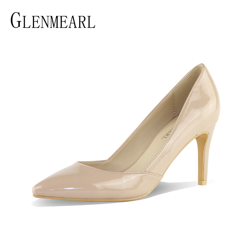 Black Women Shoes Heels Patent Leather Pumps Luxury Brand Thin High Heels Ladies Court Shoes Pointed Toe Single Dress Pumps DO<br>