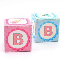 100pcs Creative Pink / Blue Square BABY Pattern Baby Shower Candy Boxes Baby Baptism Party Return Present Gift Box
