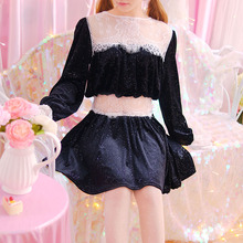 Lace Patchwork Black Shiny Velour Lovely Princess Body line Full Sleeve Dress Women Sweet Female Party Sexy Vestidos Spring Fall(China)