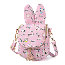 PU leather cartoon printing children school bags kids travel messenger crossbody money pouches phone bags for kindergarten girls