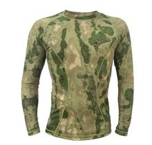 Tight long sleeve Combat T-shirt Camouflage tops Black military uniform(China)
