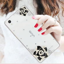 Fashional Bling Camellia Pattern Mobile Phone Case For Sony Xperia Style,Luxury Diamond Cell Phone Case For Soy Xperia T3/M50W