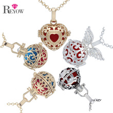 "REYOW 10pcs Heart/Wing Cage/Elephant Locket Pendant 30"" Chain Perfume Essential Oil Diffuser Necklace Aromatherapy Jewelry(China)"