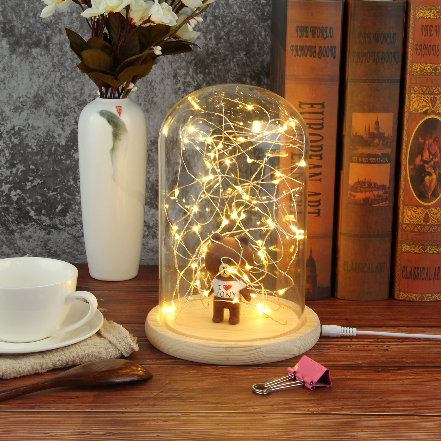 Creative Glass Dome Bell Jar Display Wooden Base with LED Light Warm Fairy Starry String Lights Desk Ornament for Home Decor 10