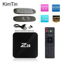KimTin Z28 Set Top Boxes Android 7.1 Rockchip RK3328 64bit Cortex A53 1GB 8GB 2GB 16G H.265 VP9 4K USB 3.0 3D WiFi Smart TV Box