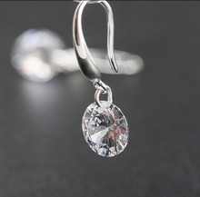 SALE 925 silver Europe Feather Crystal from Swarovski new fashion creative cz Woman Earrings love micro hot jewelry(China)