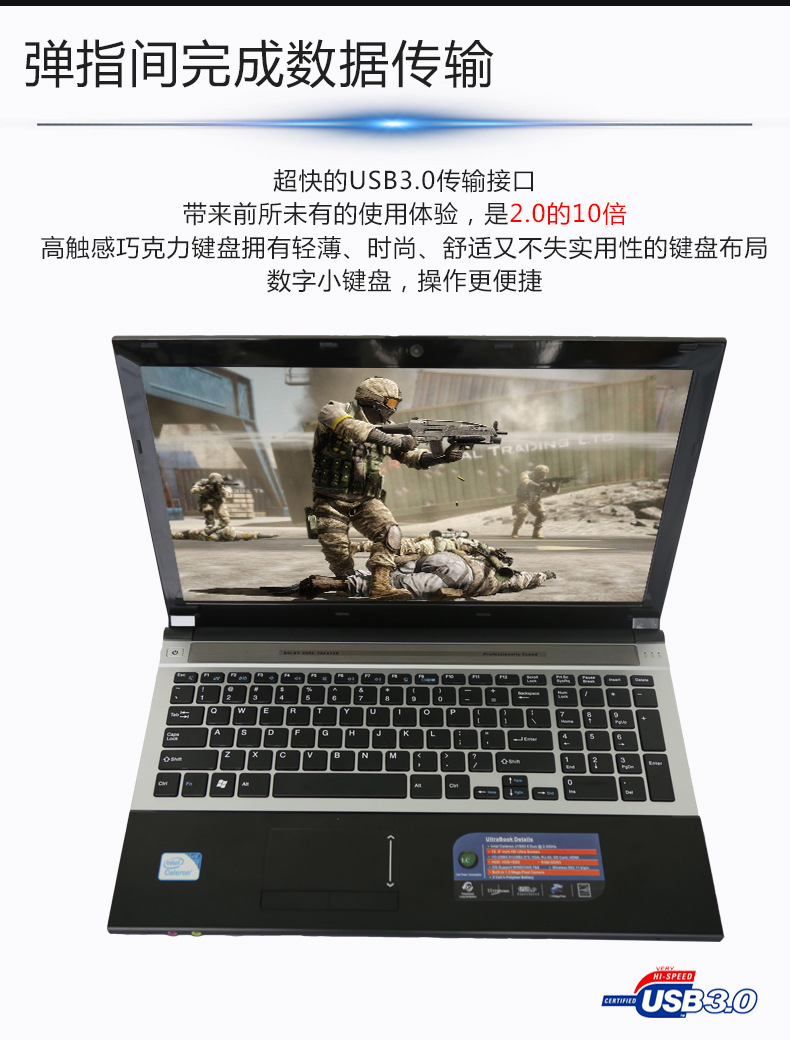 8GB RAM+750GB HDD 15.6 inch 1920*1080P Intel Celeron J1900 Quad Core Laptop Windows 10 Notebook HDMI With DVD-RW For Office Home