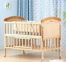 Baby Cribs Bedding no paint Solid wood baby bed Multi-functional with Cradle and mosquito net trolley can customized logo NAF(China)