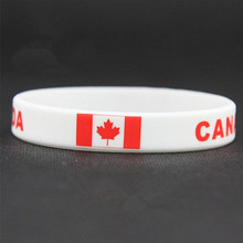 100pcs Canada Flag Sport Silicone Bracelet 2018 Men Hologram ID Wristband Soccer World Cup Football Souvenir Wrist Strap Bangle(China)