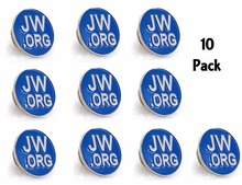 Round Blue Lapel Pin - JW.org Neck Tie Hat Tack Clip Women or Men Suits-Silver Round-10 Pcs