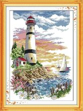 Needlework,DIY DMC Lighthouse (4) Cross stitch, Europe Style Pattern Innovation Items ,Wall Home Decro Hand Made Embroidery kits