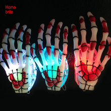 Halloween Dress Up Halloween LED Skull Hand Bones Emitting Hairpin Clip Luminous Blood Claw Hairpin Halloween Decoration HW160