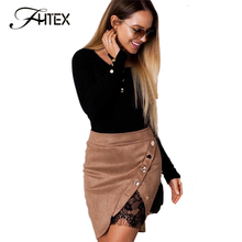 Buy FHTEX Women Fashion Button Lace Patchwork Autumn Winter Skirt 2017 High Waist Split Sexy Mini Skirt High Waist Nightclub Skirt for $12.16 in AliExpress store