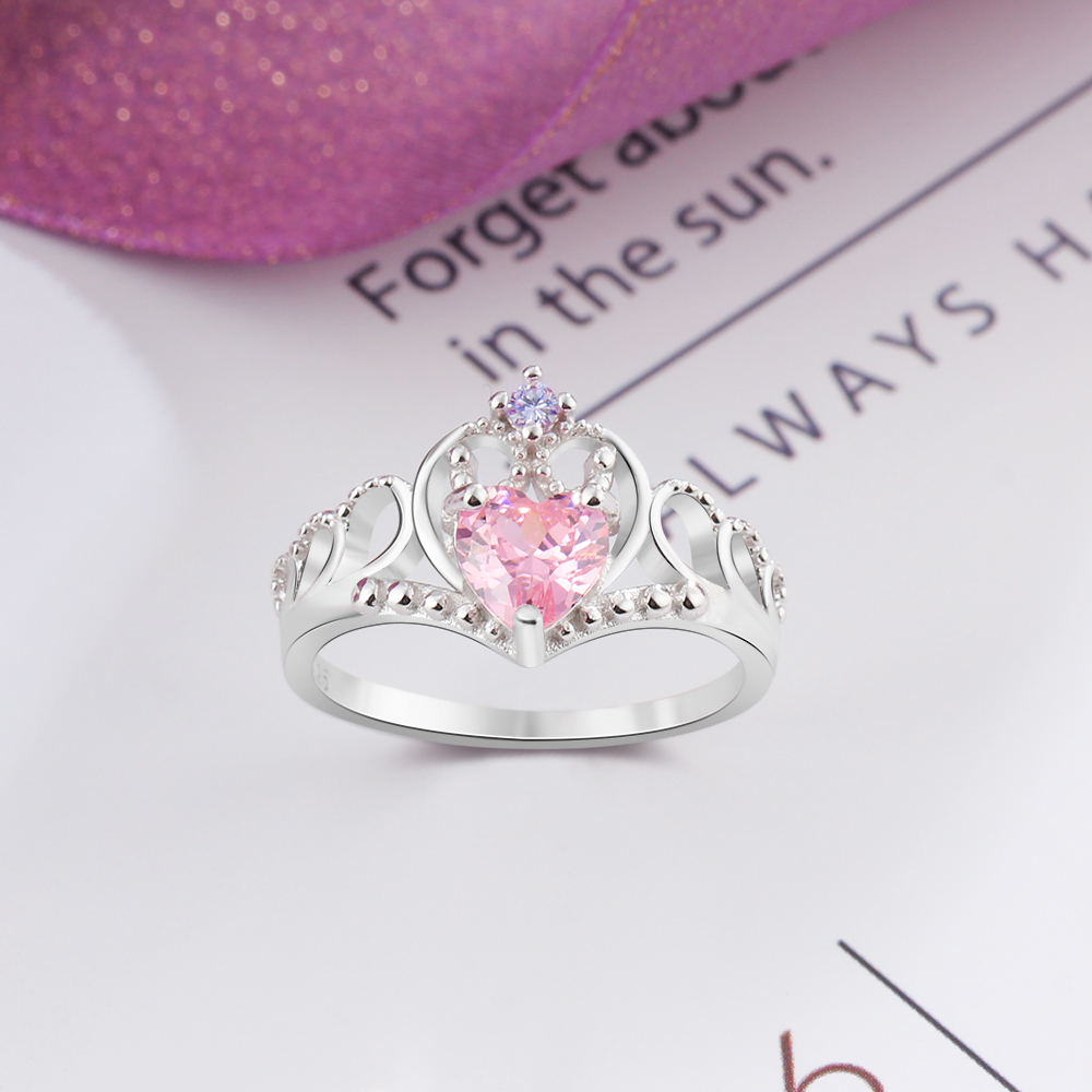 925 Sterling Silver Heart Cubic Zirconia Stone Crown Ring