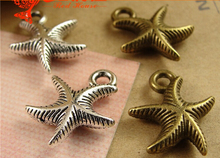 13*17MM Antique Bronze Marine series - Star hand DIY jewelry wholesale Starfish charms, tibetan silver nautical pendants vintage