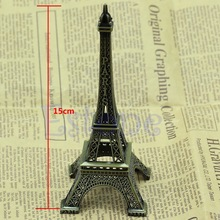 Vintage Bronze Tone Paris Eiffel Tower Figurine Statue Alloy Model Decor 15cm