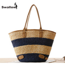 Summer Popular Large  Designer Beach Bag Women 2016 Fashion Knitting Linen Bag Women Top-Handle Bag Knitting Bags Totes Panelled