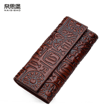 High quality Chinese style Genuine Leather Vintage female  purse name brand fashion pattern Clutch Wallet women free shipping