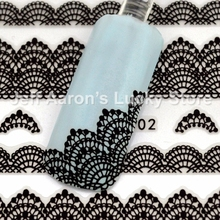 5PCS beauty black lace design nail stickers decals nail art decorations manicure tools JY002(China)