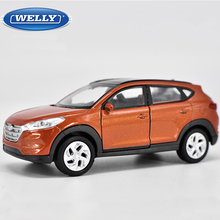 1:36 Scale Welly Hyundai Tucson Diecast Alloy Car Model Toy With Pull Back Educational For Kids Birthday Gift Collection(China)