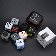 NEW Mini Fidget Cube 11 Colours Desk Finger Toy Keychain Squeeze Fun Stress Reliever Puzzle Magic Cube With Box