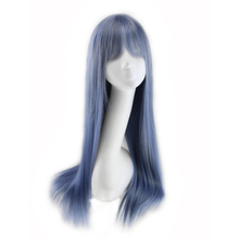 QQXCAIW Long Straight Cosplay Women Blue Gray Grey Ombre 70 Cm Synthetic Hair Wigs