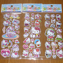 New 10pcs/lot Bubble Stickers 3D Cartoon Hello Kitty Animals Cat Classic Toys Scrapbook For Kids Children Gift Reward Sticker(China)