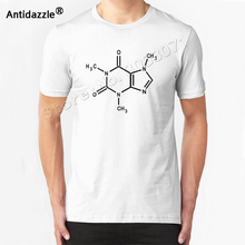Antidazzle 2017 Fashion CAFFEINE molecule coffee funny NERD Funny Printed Men's Short Sleeve T shirt Casual T-shirt Male Tees