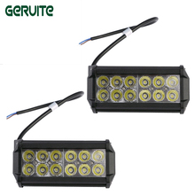 2 Pieces/lot 36W 12 x 3W Car LED Bar Light as Square Work light Flood Light Spot Light for Boating Hunting Fishing