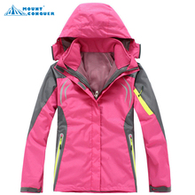 2017 Women hiking Clothing Outdoor Sport Windbreaker Skate Rain Coat Winter Ski Tech Fleece Softshell Wateroproof Jacket 3in1(China)