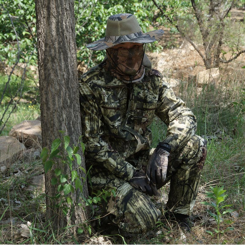 Breathable camouflage hunting clothes Ghillie Suit Bonic Jacket + Pants Suit for spring autumn winter<br>
