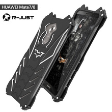 R-JUST for HUAWEI mate 7 mate 8 case,Armor Heavy Dust Metal Aluminum CNC BATMAN protect Skeleton phone shell case cover+ bracket