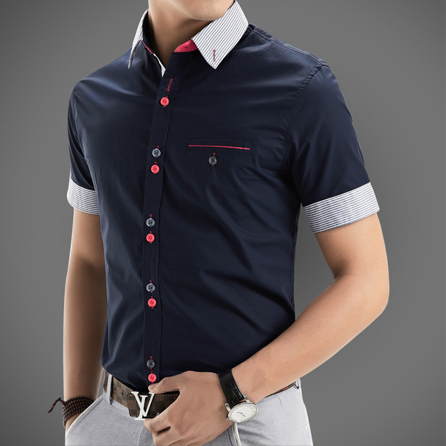 2017 New Brand Mens Dress Shirts Short Sleeve Casual Shirt Men Slim Fit Design Formal