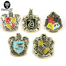 Wholesale 10pcs/lot Hogwarts Slytherin Gryffindor Ravenclaw Hufflepuff brooch in Brooches Cheap broches pins badge For Men Women(China)