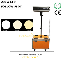 Followspot Theatre Stage Lighting Spot Light inc Colour Changer 200W LED Free Flighting Case Stand