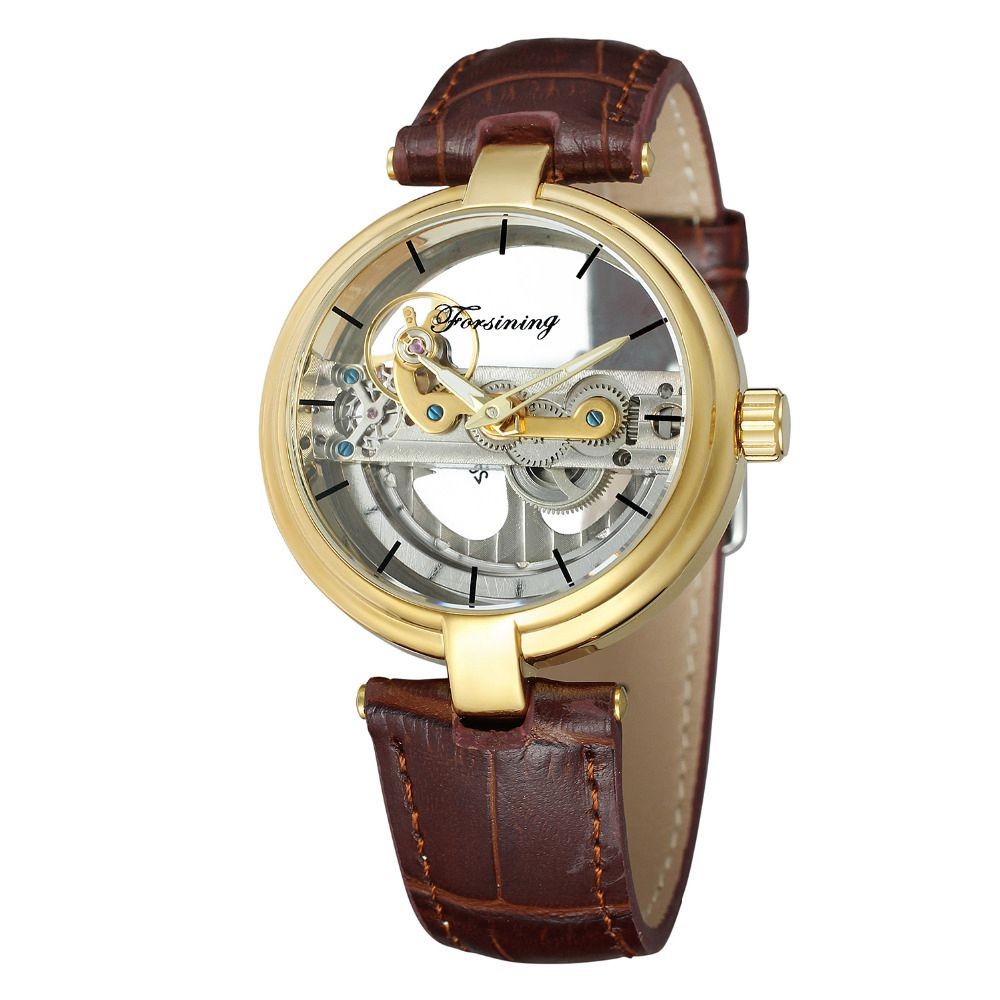 FORSINING 2017 Retro Mens Unique Design See Through Automatic Movemet Mechanical Wrist Watch Cool Gift Box Free Ship<br>