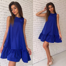 Buy Fashion 2018 Spring Summer Women Dress Sexy Casual Sleeveless Dress Solid Color Mini A-Line Dress Women Party Dresses Vestidos for $6.11 in AliExpress store